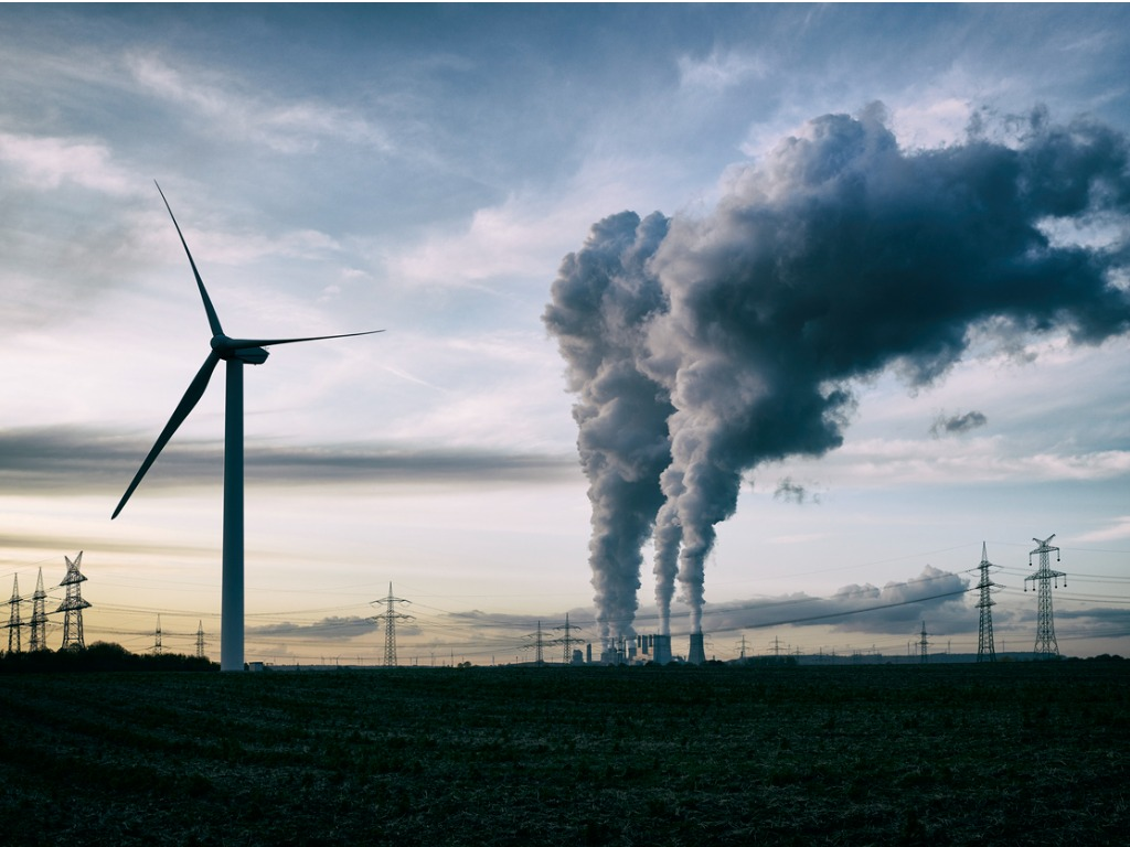 wind energy versus coal fired power plant picture id1189129733